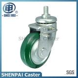 Roda rígida de borracha do rodízio de um Aço-Núcleo verde de 3 polegadas