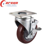 125mm Medium Duty Swivel PU Caster mit Side Brake