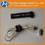 Schwarze Nylonhaken-u. Schleifen-Flausch-Kabelbinder mit Plastikfaltenbildung