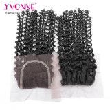Malaysisches lockiges brasilianisches Jungfrau-Haar-Spitze-Schliessen