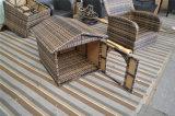 Base di vimini del cane di animale domestico del rattan esterno elegante del giardino