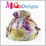 低価格の陶磁器のピンクのめっき袋の結婚式の銭箱の上の販売