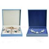 Cuero promocional de la PU del azul de cielo/cajas de papel de la joyería de la cartulina (joyería)