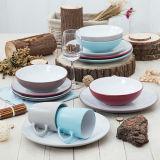 De alta qualidade 16PCS 20PCS cerâmica de grés com cor sólida conjunto de jantar glazed