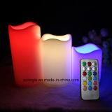 A vela de controle remoto de 18 chaves com RGB colore velas do diodo emissor de luz da bateria 3*AAA