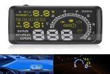 "W02 5.5 "" Display 높은 쪽으로 OBD2 Obdii Kmh MPH Voltage Speed Warning System Car Hud Car Head"
