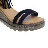 Черная сандалия высокой пятки способа повелительниц с Tassels
