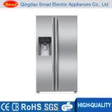 Congélateur de réfrigérateur side-by-side de film publicitaire avec Icemaker, distributeur de l'eau et mini barre