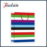 Bolsa de papel ancha colorida laminada brillante del regalo de las rayas del papel de arte