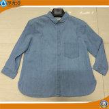 袖なし女性のデニムの偶然のワイシャツは適当な女性ジーンワイシャツを細くする