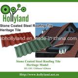 A folha do telhado do metal com microplaqueta de pedra revestiu (o tipo clássico)