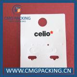 Alta venta de plástico blanco de gancho joyería pendiente de pantalla de la tarjeta (CMG-106)