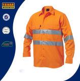 100%년 면 남자 긴 소매 높은 시정 안전 일 셔츠