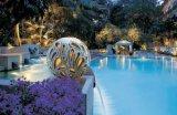 Garten-Sandstein-Kugel-Laterne der Polyresin Lampen-LED helle