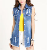 Estate Sleeveless Crochet Casual Denim Shirt con Comb