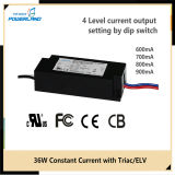 36W 600/700 / 800 / 900mA de corrente constante LED Driver Power Supply com Triac / Elv escurecimento