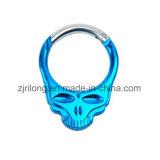 Amo di alluminio dello schiocco della molla di Carabiners di figura del cranio del formulario speciale