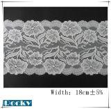 Larghezza bianca 18cm del tessuto del merletto del jacquard di disegno di modo di colore