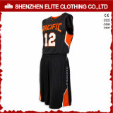 Uniformi su ordinazione adatte di pallacanestro della gioventù di Dri di disegno nero