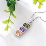 Cute Colorful CZ Silver Jewelry Necklace (N-0044)