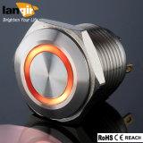 da iluminação impermeável do anel do aço inoxidável 12V de 16mm interruptor de tecla momentâneo