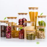 400 ml de bambú tapa del frasco de vidrio borosilicato de almacenamiento de alimentos