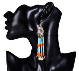 Monili lunghi in rilievo multicolori vuoti della Boemia degli orecchini della nappa di nuovo modo