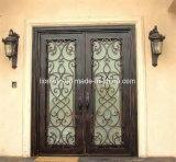 手作りされたアーチの上の錬鉄の複式記入のドア