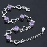 女性925の純銀製の紫色のダイヤモンドのハート形のブレスレット