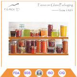 Vasi di vetro Hex con la protezione del metallo per ostruzione, salsa, gelatina, imballaggio della salsa