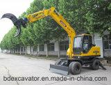 Máquina escavadora pequena da roda da melhor venda de China com broca de Rotory/Grasper/martelo quebrado