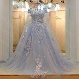 Reizvolle in voller Länge V-Stutzen V-Back Seite aufgeschlitztes flüssiges Chiffon- königliches Blau-Abend-Kleid (WD60)