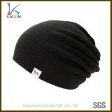 Casquillo y sombrero baratos hechos punto gorrita tejida negra del invierno de Hip Hop