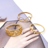 절묘한 주황색 결정 열리는 반지 금이 Bowknot 플랜트 반지 세트를 도금했다