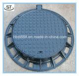Eingehängter Roheisen-Einsteigeloch-Deckel u. Rahmen mit Gummi