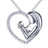 女性のための925純銀製のネックレスの母および子供愛中心の吊り下げ式のネックレスは宝石類に罰金を科す