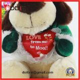Brinquedo de cachorro de pelúcia de pelúcia de 20cm com coração vermelho