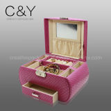 Коробка красного кожаный хранения ювелирных изделий упаковывая