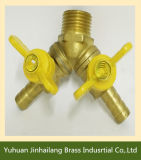 Due Ways Brass Gas Valve con Butterfly Handle