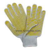 Gants tricotés en coton Blue PVC Dots Safety Work Glove