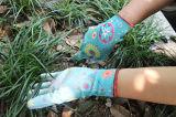 Напечатанные связанные полиэфиром перчатки сада с белым PU на ладони