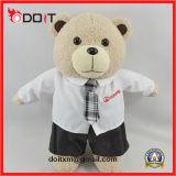 Urso branco da peluche do laço da camisa do presente relativo à promoção feito sob encomenda do logotipo