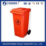 Coffre d'ordures en plastique de caractéristique respectueuse de l'environnement à roues et d'usage extérieur