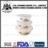 China Supplier Customized Color Logo Decal Enamel Salad Storage Bowl