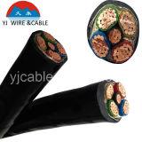 Cable de alimentación con cobre Conducta sólido, cable eléctrico YJV, PVC forró el cable