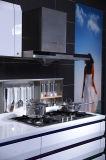 光沢度の高いラッカー既製の台所食器棚のホワイトメタルの食器棚