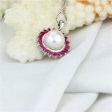 チェーン単一の淡水の真珠のペンダント内のSnh 9.5-10mm