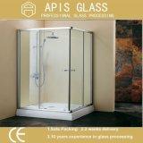 Verre trempé clair à 10 mm de verre trempé pour porte de salle de bain avec charnière, boulons et trous de serrure
