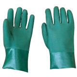 籠手の倍は緑PVC手袋の産業作業手袋を浸した