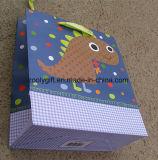Sac de papier estampé par modèle de cadeau de dinosaur
